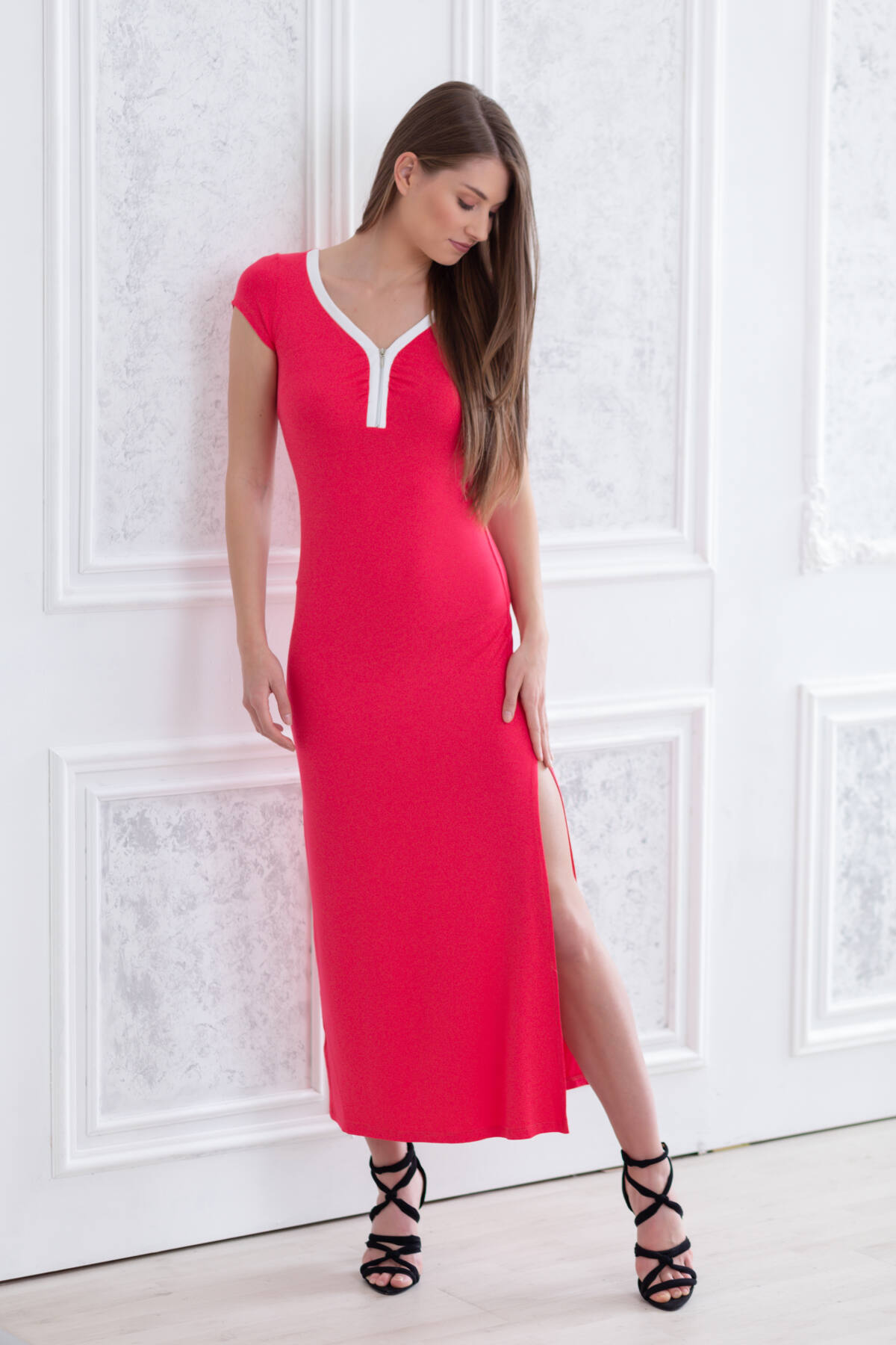 e87556365b Elöl cipzáros Maxi ruha - piros - RUHÁK - Blue Nature webshop