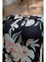 Fodros vállú felső masnival - AJDA- virágmintás fekete alapon