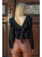 Magasított derekú elöl cipzáros bőr hatású nadrág (elasztikus) - MARA őz barna