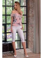 Fodros bő felső LORA - virágmintás-rózsaszín