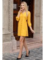 Végig gombos oldalt gumírozott bő vászon ruha - NIZZA - mustár