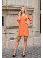 Végig gombos oldalt gumírozott bő vászon ruha - NIZZA - narancs