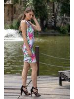 ÍRISZ ruha - fehér/rózsaszín virágmintás