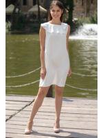 Hátán V-kivágással masni dísszel ruha SÁBA - fehér