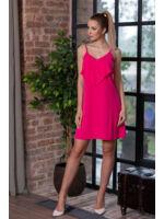 Spagetti pántos A-vonalú fodros ruha ZSÓFIA - pink