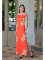 Ujjatlan Testhezálló Maxi Ruha - PERSONA - narancssárga/virágos