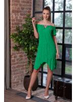 V-kivágással díszített fodros ujjú színes gumis ruha CSILI - zöld