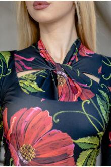 Csavart nyakú felső GITTA - virágos
