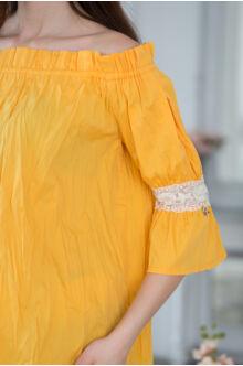 Gumis vállú, hátul masnis bő blúz HELLA - Sárga