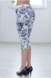 Térd Virágmintás Nadrág (elasztikus) ALINA - világos kék
