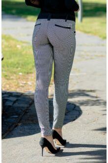 Bőrrel díszített pepita mintás nadrág - BONITA - Fekete/fehér