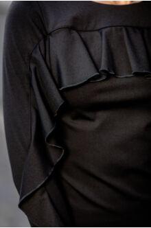 Fodorral díszített ruha - LIU - fekete