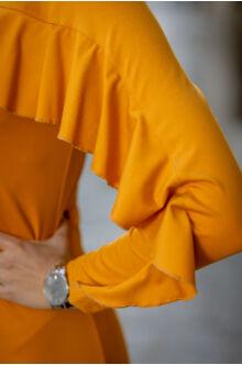 Fodorral díszített ruha - LIU - mustár