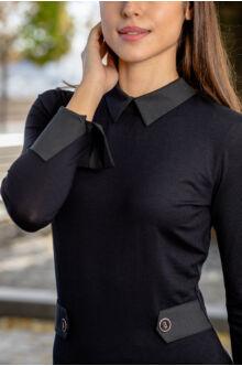 Galléros díszítő pántos ruha  MANNA - fekete
