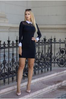 Neccbetétes galléros ruha - ROSAL - fekete