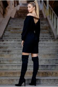 Színes gumis derekán megkötős ruha - fekete
