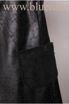 Hosszított  zsebes irha mellény - Fekete