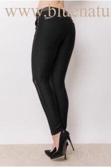 Bőrpaszpolos nadrág - ROXAN - Fekete (diagonál)