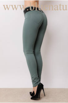 Öves puntó nadrág (elasztikus) fekete övvel - sötét zöld