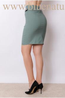Magasított derekú öves térdszoknya (elasztikus) - Edina - Sötét zöld
