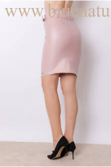 Magasított derekú bőrhatású térdszoknya (elasztikus) - Edina - Púder