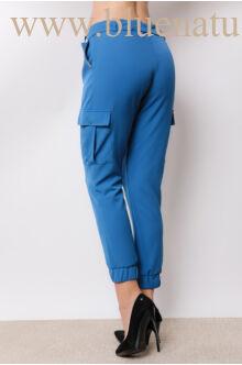 Megkötős laza vonalú oldalt zsebes nadrág - AMY - Kék