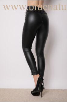 Dupla derékpánttal díszített magasított bőr hatású nadrág - EDINA - Fekete