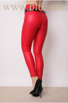 Dupla derékpánttal díszített magasított bőr hatású nadrág - EDINA - Piros