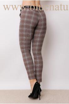 Öves bengalin nadrág (elasztikus) - ALINA - Barna kockás