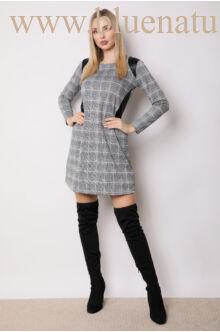 A-vonalú kombinált ruha - HENI - Kockás