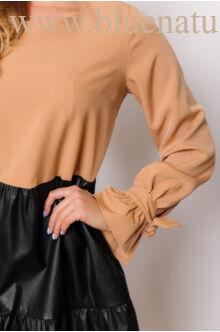 Fodros bőrrel kombinált bő ruha  - NARINA - Camel/fekete bőr