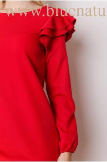 A-vonalú fodros ujjú ruha (szövet)  - OLGA - Piros