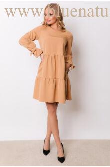 Fodros bő ruha (szövet) - NARINA - Camel