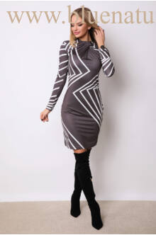 Gallérral díszített csavart nyakú ruha - ZEA - Fekete/fehér mintás