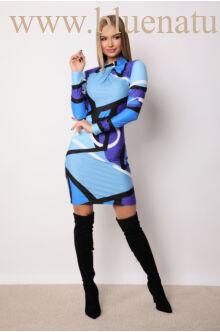 Gallérral díszített csavart nyakú ruha - ZEA - Kék mintás
