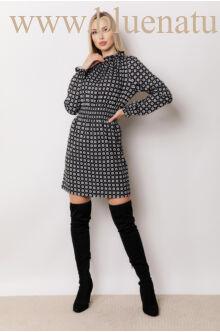 Húzott nyakú ruha (szövet) - TERESA - Fekete/mintás