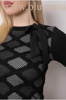 Masnis nyakú ruha - NADA - Fekete rombuszos