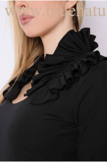 Szűk ruha fodros gallérral - TIFANY - Fekete