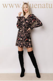 V-kivágású gumis ujjú ruha - JENNA - Fekete láncos mintával