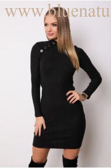 Vállán gombos kötött ruha - TORONTO - Fekete