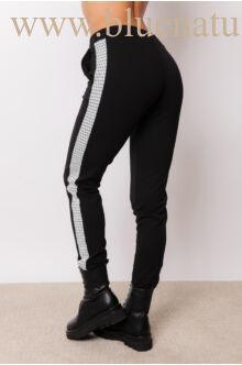 Jogging nadrág - ELMA - Fekete/mintás ezüst szállal