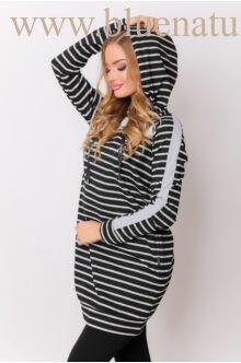 Kapucnis oldalt zsebes sportos ruha - ELMA - Csíkos