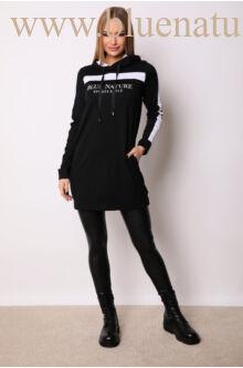Kapucnis oldalt zsebes sportos ruha - ELMA - Feliratos/fehér