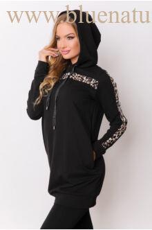 Kapucnis oldalt zsebes sportos ruha - ELMA - Ocelot/fekete