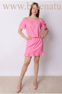 Gumis vállú hímzett ruha - DORIS - Pink