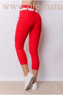 Dupla derékpánttal díszített 3/4-es magasított nadrág EDINA - Piros