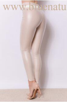 Dupla derékpánttal díszített magasított bőr hatású nadrág EDINA - Bézs