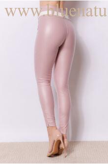 Dupla derékpánttal díszített magasított bőr hatású nadrág EDINA - Pink