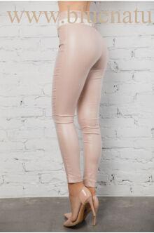 Dupla derékpánttal díszített magasított bőr hatású nadrág EDINA - Púder