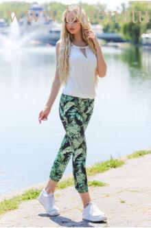 Gumis nadrág - ZSANI - Zöld levélmintás